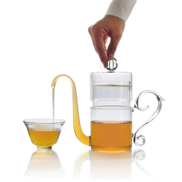 hand blown glass teapot