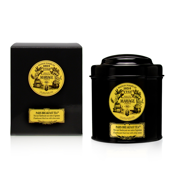 Icône : French tea in black canister. Our popular blends : Marco Polo, Opera, Wedding Imperial, Earl Grey and our range of Breakfast tea