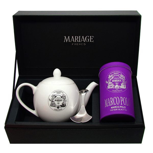 Tea Tester : a gift set with Marco Polo tea or Earl Grey French Blue tea, a teapot and a tea caddy