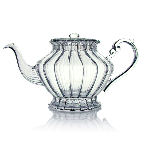 Teapot, in blown glass, in porcelain, stoneware and cast-iron or cast iron, 4 cups capacity