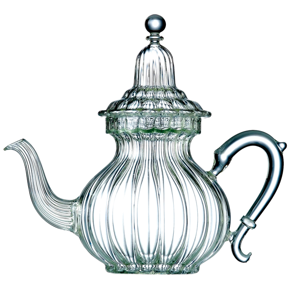 Teapot, in blown glass, in porcelain, stoneware and cast-iron or cast iron, 5 cups capacity