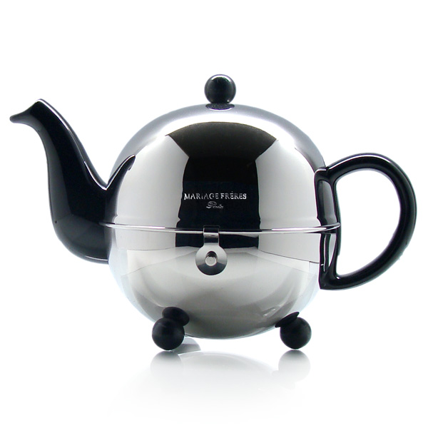 Teapot in porcelain, stoneware, cast-iron & hand blown glass