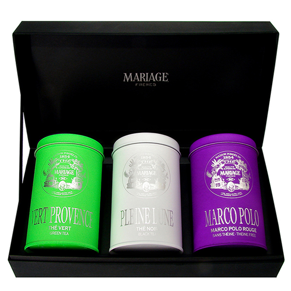 3 three teas gift set with : black tea, green tea, white tea and rooibos
