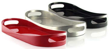 white, red, silver or black lacquered tray