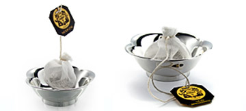 Muslin tea bags dish : rest for tea sachets