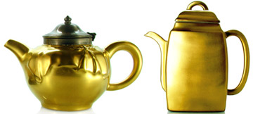 Teapot, tea cup and empty canister with golden enamel or gold plated