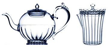 Hand blown glass teapot made in France