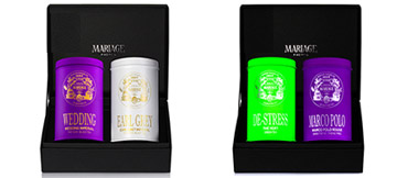 Tea for Two : gift set of 2 canisters of tea in a black case