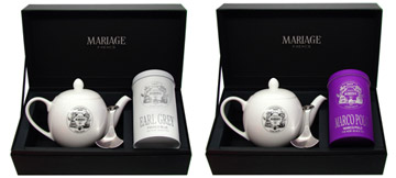 Tea Tester : gift set with a canister of black tea, a porcelain teapot and a tea caddy spoon