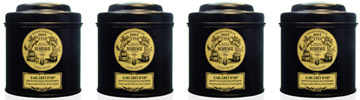 Icône collection : rooibos, black tea, green tea in black canister