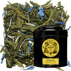 Bouddha Bleu in Icône black canister : green tea with ripe fruits notes and blue cornflowers
