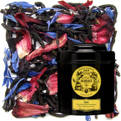 Éros in Icône black canister : black tea for lovers with hibiscus and mallow flowers