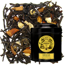 Christmas Tea in Icône black canister : black tea with orange zest and vanilla