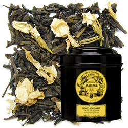 Chinese green tea with jasmine in Icône black canister