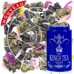 King's Tea :  Thé bleu oolong parfumé à la bergamote, à la vanille et à la rose de la collection Thé des Rois