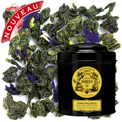 Marco Polo Blue in Icône black canister : oolong blue tea with fruits and flowers from China and Tibet