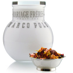 Marco Polo : fruit tea packed in white glass ball jar