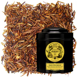 Red Marco Polo in Icône black canister : rooibos with fruits and flowers from China and Tibet