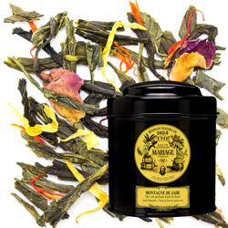 Montagne De Jade - Jade Mountain in Icône black canister : fruity and flowery green tea