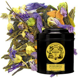 Nocturne Oriental in Icône black canister : citrus green tea with floral notes