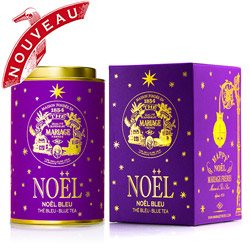 Noël Bleu : Thé bleu oolong de Noël à la vanille et à la cannelle associé à des écorces d'orange de la collection Happy Noël