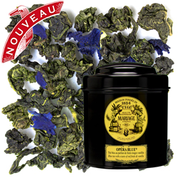 Opera Blue in Icône black canister : oolong blue tea with red fruits and vanilla