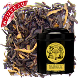 Paris Breakfast tea in Icône black canister : citrus black tea for morning