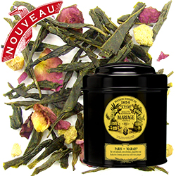 Paris Marais in Icône black canister : ginger green tea with rose petals and a hint of citrus