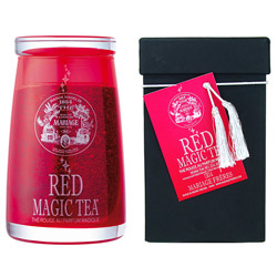 Red Magic Tea : Rooibos rouge sans théine parfumé aux agrumes et aux fruits de la collection Magic Tea conditionné en flacon de verre soufflé