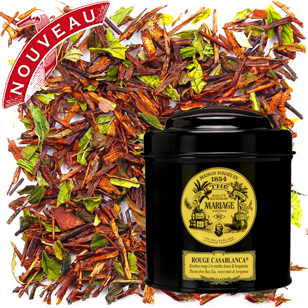 Rouge Casablanca, rooibos with mint and bergamot in Icône black canister