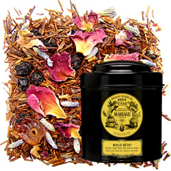 Rouge Métis in Icône black canister : rooibos with red fruits, black fruits, citrus and mild flowers