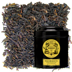 Russian Breakfast tea in Icône black canister : citrus black tea blend for morning