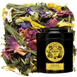 Russian Star in Icône black canister : green tea with blue mallow, bergamot, lime, orange, and grapefruit