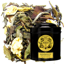 Shangai Breakfast tea in Icône black canister : oolong blue tea with ginger and hints of anisette, jasmine and chrysanthemum