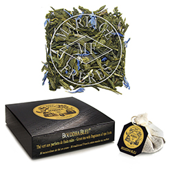 Bouddha Bleu tea bags : green tea sprinkled with blue cornflowers and ripe fruits flavour