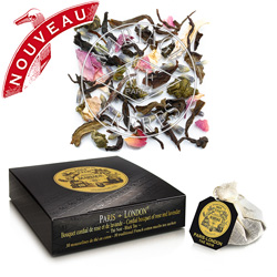 Paris London tea bags : blend of black tea and white tea with rose, lavander and white flowers