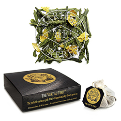 Thé Vert Au Tibet tea bags : green tea with rose, jasmine and citrus bergamot and mandarin