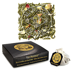 Vert Provence tea bags : green tea with rose, lavender, ripe red an black berries