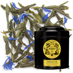 Temple De L'Aube in Icône black canister : flowery green tea with citrus and exotic fruits