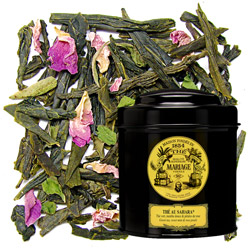 Thé Au Sahara in Icône black canister : green tea with mint and rose petals