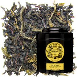 Thé Au Tibet in Icône black canister : Chinese black tea with vanilla, jasmine, mandarin, rose and bergamot