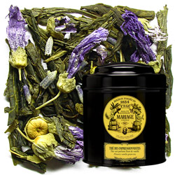 Thé Des Impressionnistes in Icône black canister : vanila green tea with mallow flowers