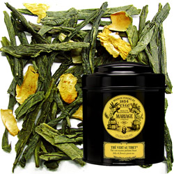 Thé Vert Au Tibet in Icône black canister : green tea with rose, jasmine, bergamot and mandarin