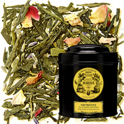 Vert Provence in Icône black canister : green tea with lavender and rose petals