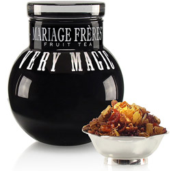 Very Magic : fruit tea packed in black glass ball jar