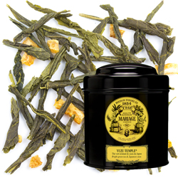 Yuzu Temple in Icône black canister : green tea with yuzu, Japanese citrus