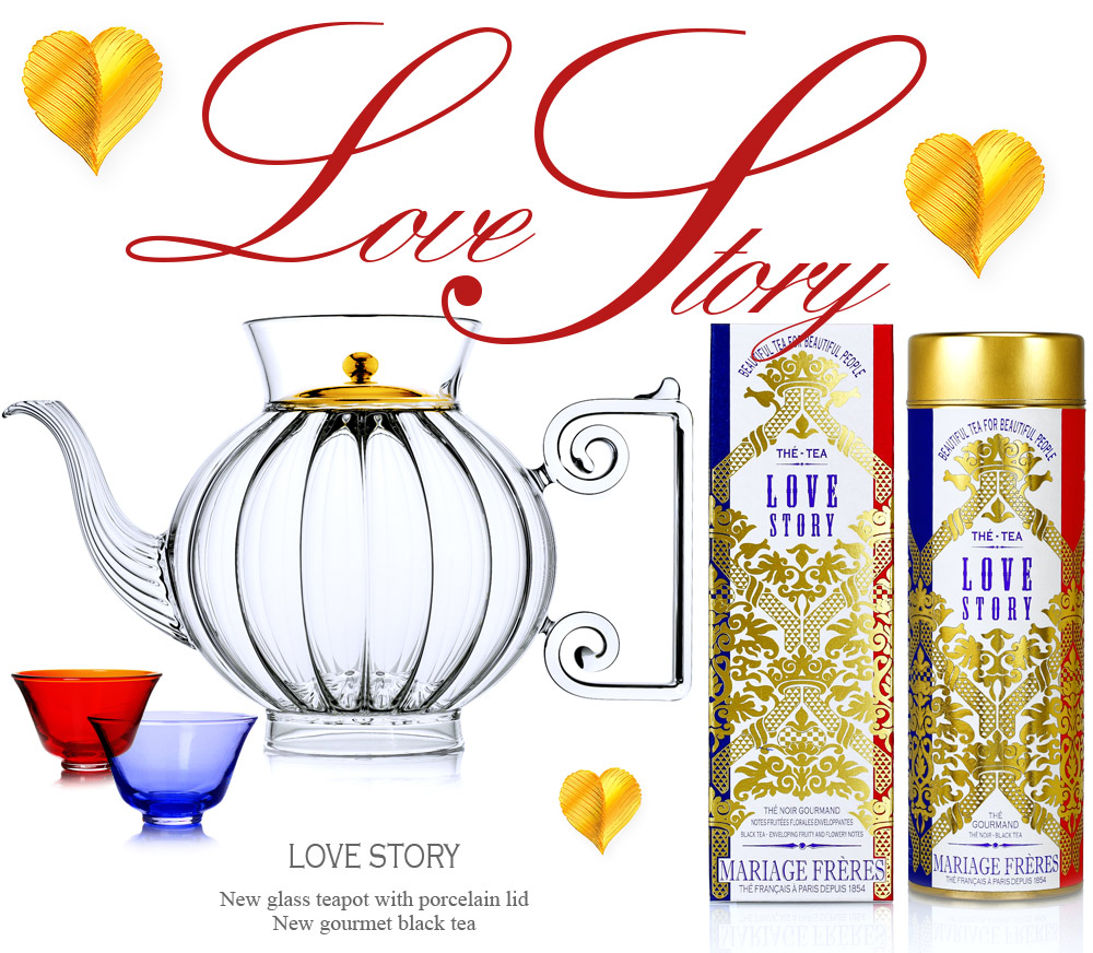 Hand blown glass teapot Love Story with a coloured porcelain lid and the gourmet black tea Love Story from Beautiful Tea For Beautiful People collection