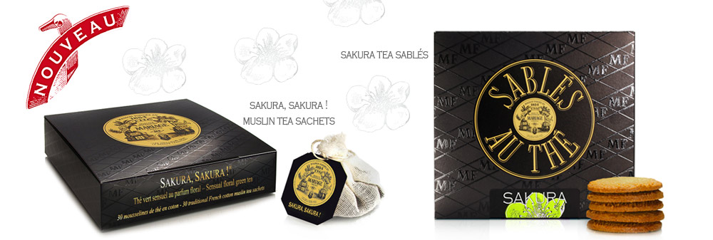 french traditional cotton muslin individual tea bags of sakura, an organic green tea flavoured with Japanses cherry blossom
